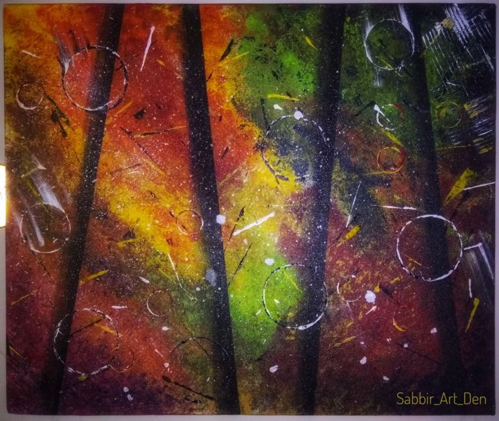 """Painting titled """"Abstract forest"""" by Sabbir Hussain, Original Art, Acrylic"""
