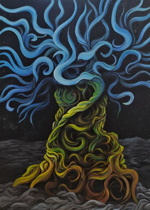 """Painting titled """"Yggdrasil"""" by Tamás Jakab, Original Art, Acrylic"""