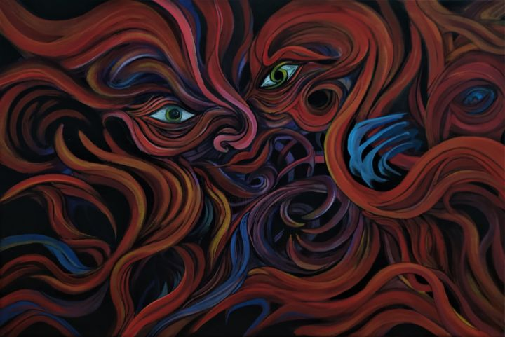 """Painting titled """"Desire (the root of…"""" by Tamás Jakab, Original Art, Acrylic"""