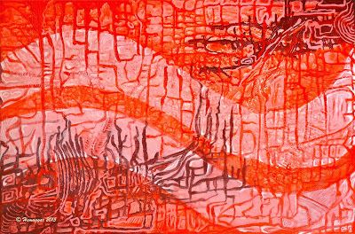 Abstract painting with wave like lines varying red paints SIXTY SHADES OF RED,  Copyright Hemu Aggarwal, 2015