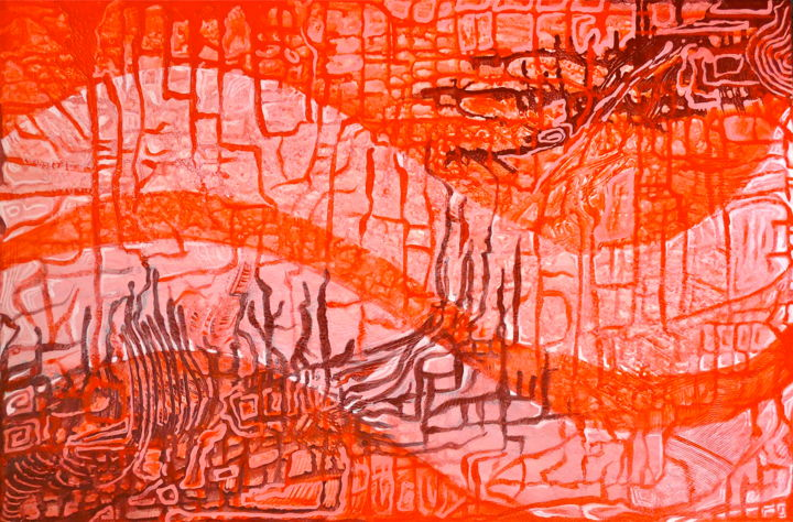 """Painting titled """"Sixty Shades of Red"""" by Hemu Aggarwal, Original Art, Acrylic"""