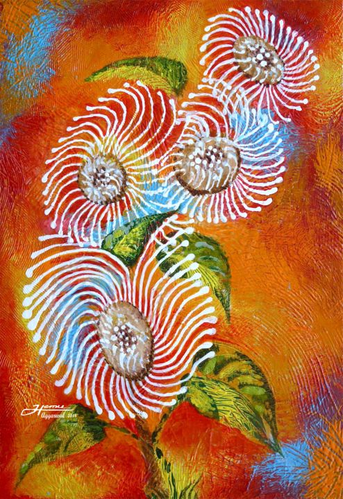 """Painting titled """"The Wild Flowers"""" by Hemu Aggarwal, Original Art, Acrylic"""