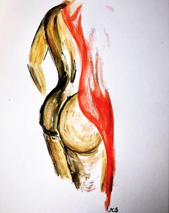 """Painting titled """"rosso"""" by Matteo Serra, Original Art, Watercolor"""