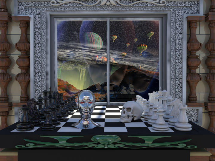 chess-1b.jpg - Digital Arts ©2019 by Rikkihop -                                                                                                                                                Conceptual Art, Illustration, Surrealism, Canvas, Paper, Fantasy, Interiors, Mortality, Science & Technology, Spirituality, chess, human future, player of games, aliens, baloons, skies, windows, rooms
