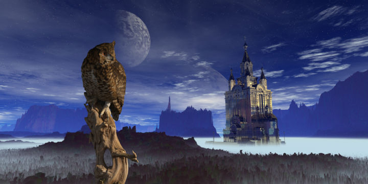 """Digital Arts titled """"The Owl and the Tow…"""" by Rikkihop, Original Art, 3D Modeling"""