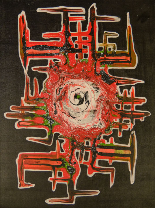 """Painting titled """"Red babel"""" by Iano, Original Art, Acrylic"""