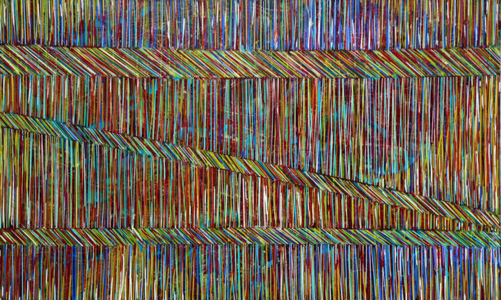 """Painting titled """"Line Groove #11  XL…"""" by Iason Orlandos, Original Art, Oil Mounted on Stretcher frame"""