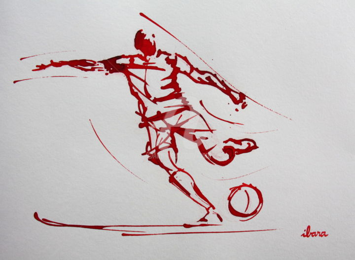 Football N°89 - Drawing,  11.8x16.5 in, ©2017 by Henri Ibara -                                                                                                                                                                          Expressionism, expressionism-591, Sports