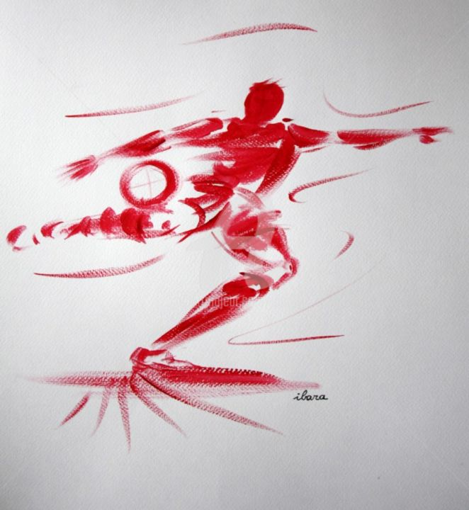 football-n-18-dessin-calligraphique-d-ibara.jpg - Drawing, ©2015 by Henri Ibara -                                                                                                                                                                                                                                                                                                                                                                                                                                                                                                  Calligraphy, calligraphy-210, Body, Men, Sports, les hommes rouges d'ibara, dessin sport, dessin football, logo football, image football