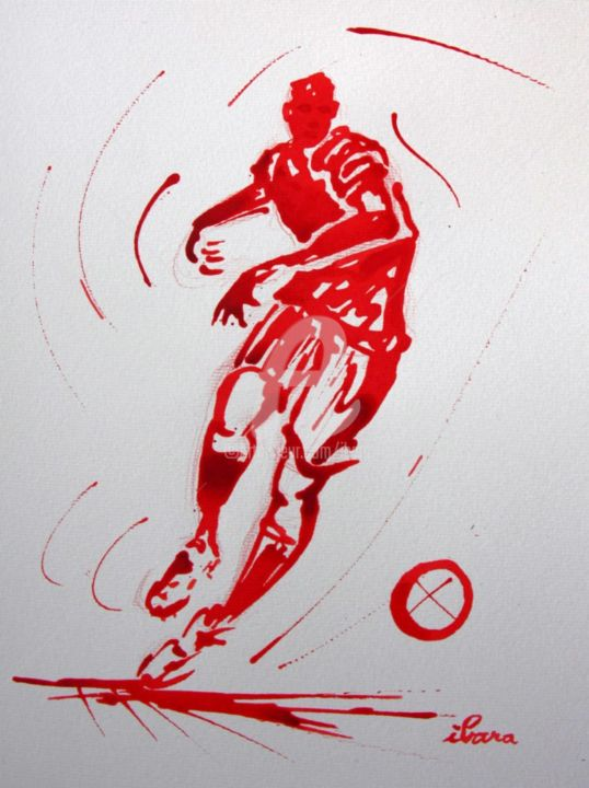 football-n-33-dessin-calligraphique-d-ibara-a-l-encre-rouge.jpg - Drawing, ©2015 by Henri Ibara -                                                                                                                                                                                                                                                                                                                                                                                                                                                                                                  Calligraphy, calligraphy-210, Calligraphy, Sports, les hommes rouges, ibara, euro 2016, dessin, art football, logo 2016