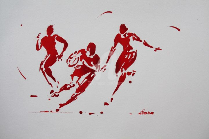 rugby-n-43-dessin-d-ibara-encre-rouge-sur-papier-aquarelle-format-30cm-sur-42cm.jpg - Drawing,  11.8x16.5 in, ©2015 by Henri Ibara -                                                                                                                                                                                                                          Expressionism, expressionism-591, artwork_cat.Sports, TOURNOI DES SIX NATIONS
