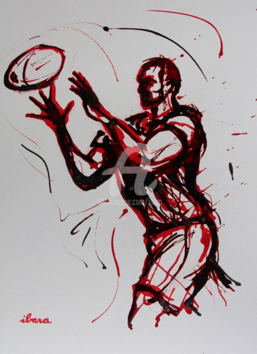 rugby-n-44-dessin-d-ibara-encre-rouge-et-sanguine-sur-papier-aquarelle-format-30cm-sur-42cm.jpg - Drawing,  16.5x11.8 in, ©2015 by Henri Ibara -                                                                                                                                                                                                                          Expressionism, expressionism-591, artwork_cat.Sports, RUGBY