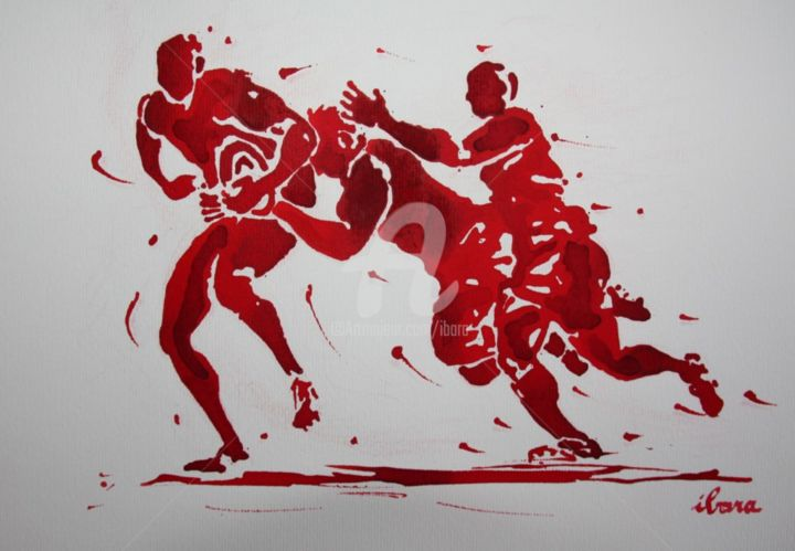 rugby-n-45-dessin-d-ibara-encre-rouge-sur-papier-aquarelle-format-30cm-sur-42cm.jpg - Drawing,  11.8x16.5 in, ©2015 by Henri Ibara -                                                                                                                                                                                                                          Expressionism, expressionism-591, artwork_cat.Sports, RUGBY