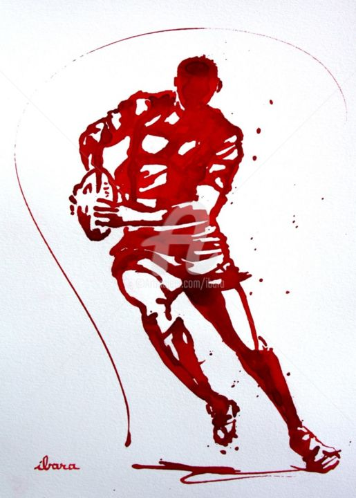 rugby-n-47-dessin-d-ibara-encre-rouge-sur-papier-aquarelle-format-30cm-sur-42cm.jpg - Drawing,  19.7x15.8x2.8 in, ©2016 by Henri Ibara -                                                                                                                                                                                                                                                                                                                                                                                                                                                      Expressionism, expressionism-591, Body, Men, artwork_cat.Sports, énergie, action, tournoi des six nations, ibara
