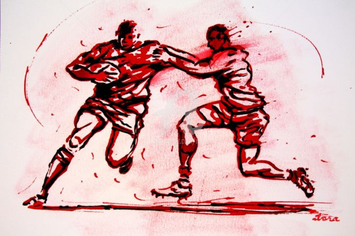 rugby-n-48-dessin-d-ibara-encre-rouge-sur-papier-aquarelle-format-30cm-sur-42cm.jpg - Drawing,  11.8x16.5 in, ©2016 by Henri Ibara -                                                                                                                                                                                                                                                                                                                                                                                                                                                      Expressionism, expressionism-591, Body, Men, artwork_cat.Sports, énergie, action, rugby, ibara