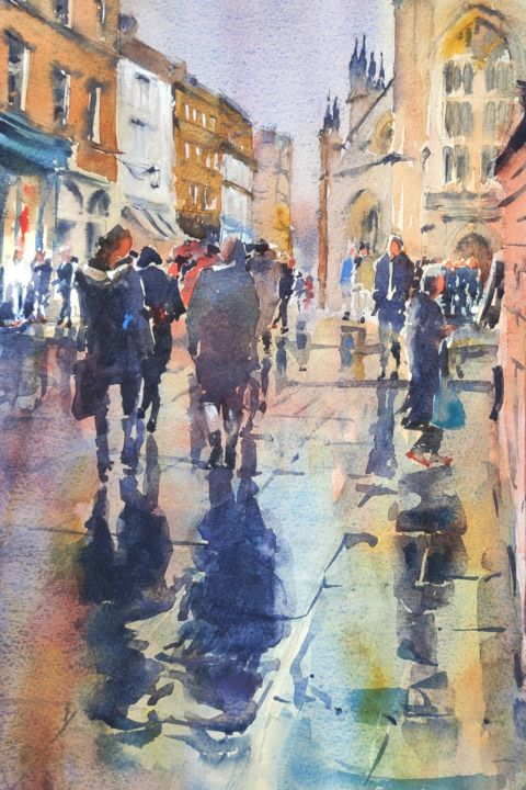 Bath City Centre - Painting,  16x10 in, ©2018 by Ibolya Taligas -                                                                                                                                                                                                                                                                                                                                                                                                                                                                                                                                                                                                                                                                                                                                                                                                                                                                                                                                                                                                                                                  Impressionism, impressionism-603, Landscape, landscape, townscape, people, walking, figures, rainy, shiny, shimmer, street, town centre, crowd, painting, watercolour, city, Bath, England, impressionism, loose, buildings