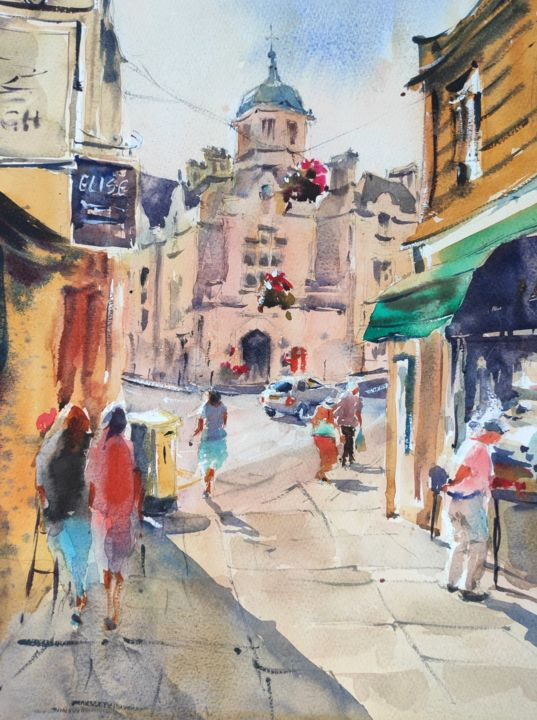 Bradford-on-Avon - Painting,  16x12x1 in, ©2017 by Ibolya Taligas -                                                                                                                                                                                                                                                                                                                                                                                                                                                                                                                                                                                                                                                                                                                                                                                                                                                                                                                                      Landscape, landscape, cityscape, painting, watercolour, town, England, Bradford-on-Avon, UK, sunny, figures, people, town centre, street, buildings, town hall, English, shops, market, countryside