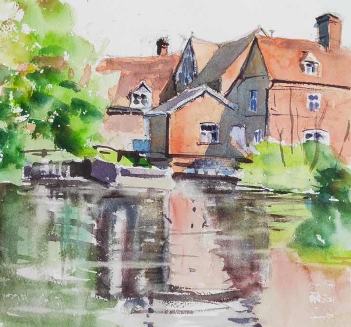 Flatford Mill - Painting,  7x7.5 in, ©2013 by Ibolya Taligas -                                                                                                                                                                                                                                                                                                                                                                                                                                                                                                                                                                                                                                                                                                                                                                                                                      Impressionism, impressionism-603, Landscape, landscape, building, mill, flatford, England, suffolk, reflections, red, river, countryside, Constable, watercolour, painting, sketch