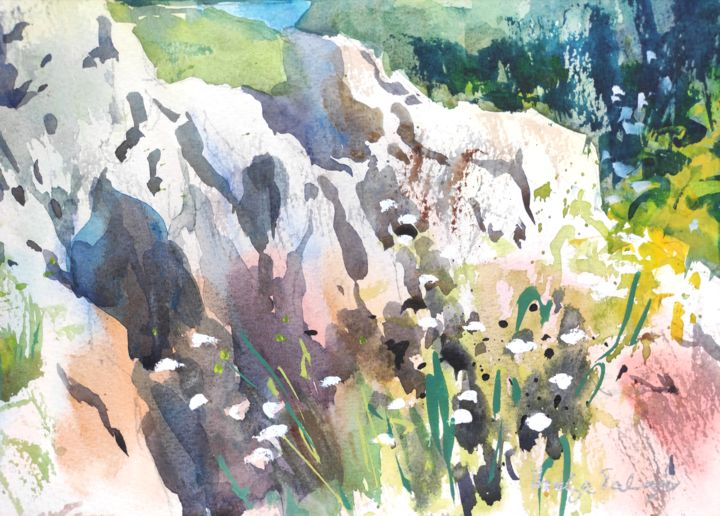 Wildflowers - Painting,  7x9.5 in, ©2018 by Ibolya Taligas -                                                                                                                                                                                                                                                                                                                                                                                                                                                                                                                                                                                                                                                                                                                                                                                                                                                                  Impressionism, impressionism-603, Botanic, Flower, Nature, wildflowers, flowers, rocks, landscape, nature, watercolour, painting, loose, modern, subtle, botanical, floral, flora