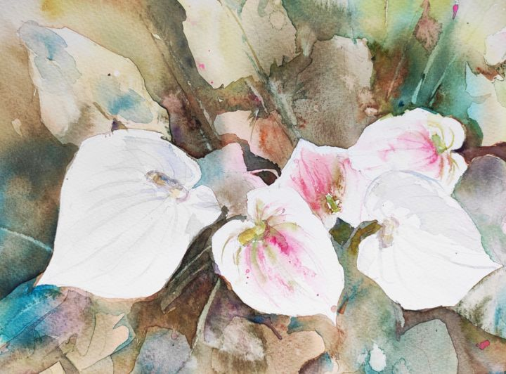 Calla Lilies I. - Painting,  12x16 in, ©2018 by Ibolya Taligas -                                                                                                                                                                                                                                                                                                                                                                                                                                                                                                                                                                                                                                                                                                                                                                                                                                                                                                                                                          Illustration, illustration-600, Botanic, artwork_cat.Colors, Flower, Nature, flower, botanical, flora, calla, lilies, white, leaves, foliage, layers, subtle, nature, colour, watercolour, painting
