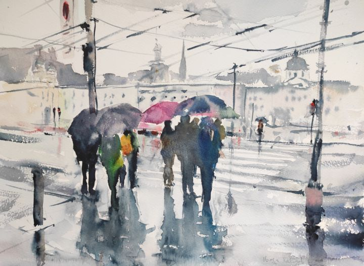 At the red light - Painting,  12x16 in, ©2018 by Ibolya Taligas -                                                                                                                                                                                                                                                                                                                                                                                                                                                                                                                                                                                                                                                                                                                                                                                                                                                                                                                                                                                                                                                                                              Impressionism, impressionism-603, artwork_cat.Cityscape, Landscape, People, crossing, rain, road, Salzburg, people, figures, umbrella, wet road, Austria, landscape, cityscape, cities, red light, traffic light, zebra crossing, waiting, watercolour, painting