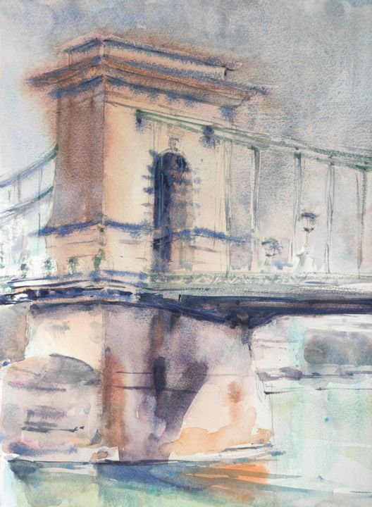 Chain Bridge, Budapest - Painting,  16x12 in, ©2018 by Ibolya Taligas -                                                                                                                                                                                                                                                                                                                                                                                                                                                                                                                                                                                                                                                                                                                                                                                                                                                                                                                                                          Impressionism, impressionism-603, artwork_cat.Cities, artwork_cat.Cityscape, Landscape, bridge, Chain Bridge, Budapest, cityscape, city, river, reflection, watercolour, painting, loose, sketch, plein air, impression, landscape, Hungary