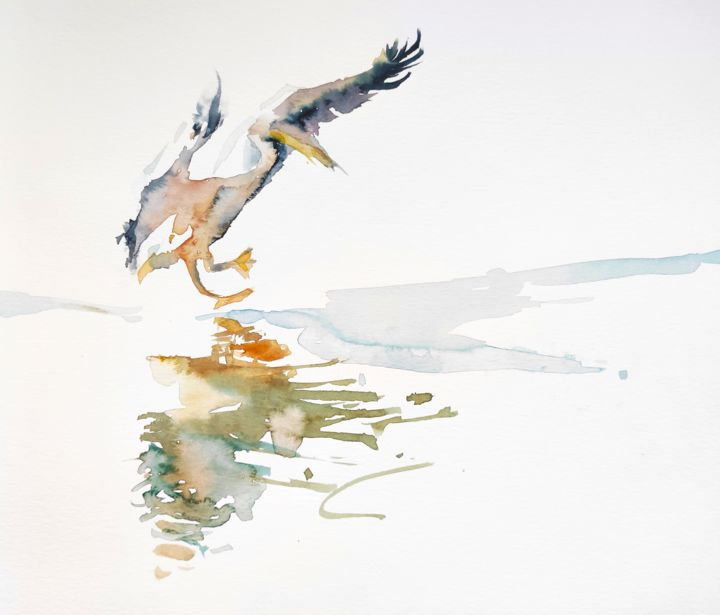 Happy Landing - Painting,  10.6x13.8 in, ©2018 by Ibolya Taligas -                                                                                                                                                                                                                                                                                                                                                                                                                                                                                                                                                                                                                                                                                                                                                                          Figurative, figurative-594, Animals, Nature, pelican, landing, wildlife, bird, nature, animal, painting, watercolour, wings, flying, reflection, arrival