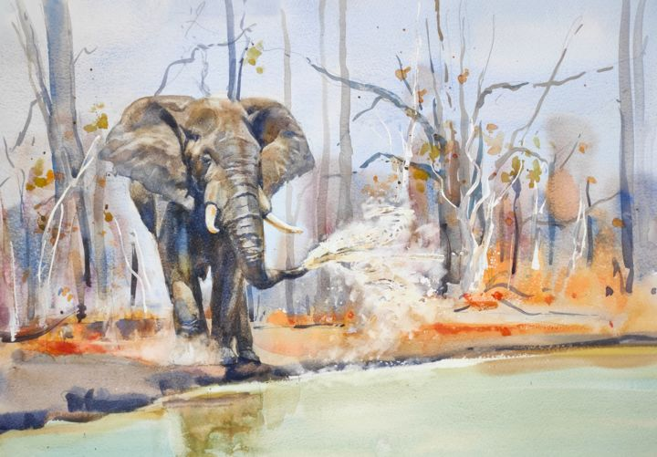 At the Waterhole 1. - Painting,  15x22 in, ©2015 by Ibolya Taligas -                                                                                                                                                                                                                                                                                                                                                                                                                                                                                                                                                                                                                                                                                                                                                                                                                      Figurative, figurative-594, Animals, Nature, elephant, waterhole, africa, landscape, mammal, animal, wildlife, painting, watercolour, dry season, water, reflection, drinking
