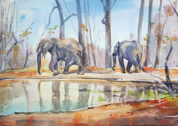 Majestic Survivals - Painting,  15x22 in, ©2015 by Ibolya Taligas -                                                                                                                                                                                                                                                                                                                                                                                                                                                                                                                                                                                                                                                                                                                                                                                                                      Figurative, figurative-594, Animals, Nature, elephants, animals, wildlife, africa, fauna, survival, giants, waterhole, Malawi, painting, watercolour, landscape, nature