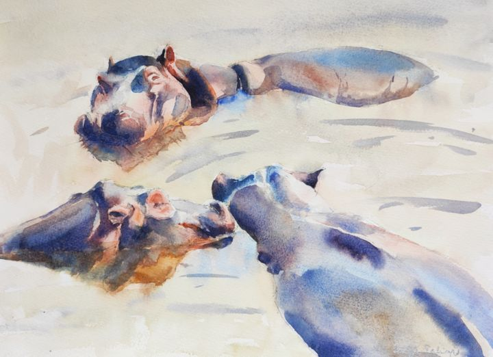 Happy Pod - Painting,  12x16 in, ©2020 by Ibolya Taligas -                                                                                                                                                                                                                                                                                                                                                                                                                                                                                                                                                                                                                                                                                                                                                                                                                                                                                                              Figurative, figurative-594, Animals, Nature, hippos, pod, lazy, water, wildlife, animal, african animals, africa, watercolour, painting, laziness, swimming, resting, relaxing, bathing