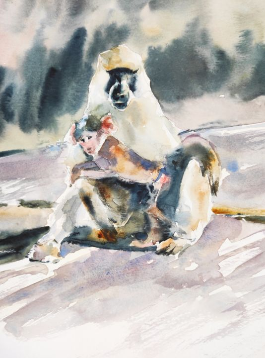 A mother's love - Painting,  15x11.8 in, ©2018 by Ibolya Taligas -                                                                                                                                                                                                                                                                                                                                                                                                                                                                                                                                                                                                                                                                                                                                                                                                                                                                  Figurative, figurative-594, Animals, Nature, baboons, mother, baby, animals, african animals, africa, wildlife, painting, watercolour, cuddle, love, belonging, hug, nature