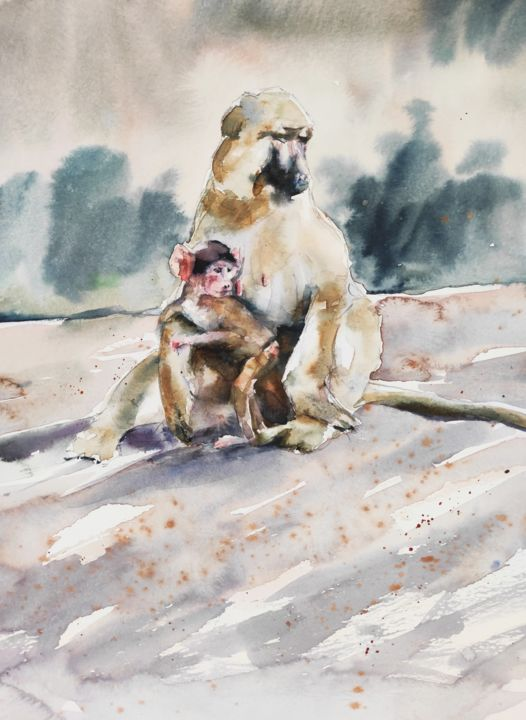 A mother's love II. - Painting,  38x30 in, ©2018 by Ibolya Taligas -                                                                                                                                                                                                                                                                                                                                                                                                                                                                                                                                                                                                                                                                                                                                                                          Figurative, figurative-594, Animals, Nature, baboons, mother, baby, animals, africa, african animals, wildlife, nature, belonging, hug, cuddle, love