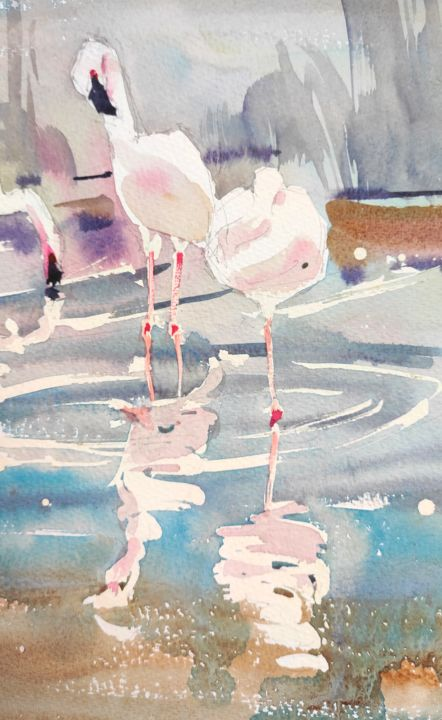 Pink Flamingos - Painting,  16.5x9.1 in, ©2017 by Ibolya Taligas -                                                                                                                                                                                                                                                                                                                                                                                                                                                                                                                                                                                                                                                                                                                                                                                                                                                                                                                                                                                                                                                  Impressionism, impressionism-603, Animals, artwork_cat.Birds, Nature, Water, flamingo, pink, bird, exotic, water, reflecting, feathers, animals, wildlife, painting, watercolour, art, wall art, art print, lake, pond
