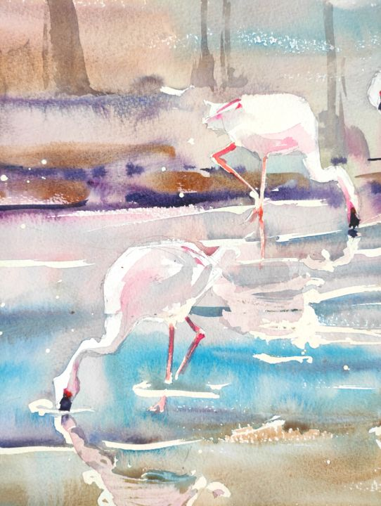 Pink Flamingos II. - Painting,  17.3x11.4 in, ©2017 by Ibolya Taligas -                                                                                                                                                                                                                                                                                                                                                                                                                                                                                                                                                                                                                                                                                                                                                                                                                                                                                                                                                          Impressionism, impressionism-603, Animals, artwork_cat.Birds, Nature, flamingo, birds, nature, wildlife, feather, reflection, lake, animals, painting, watercolour, wall art, art print, fauna, exotic, africa