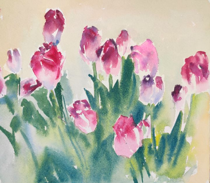 Pink Tulips - Painting,  6x7 in, ©2013 by Ibolya Taligas -                                                                                                                                                                                                                                                                                                                                                                                                                                                                                                                                                                                                                                                                                                          Botanic, artwork_cat.Colors, Flower, tulips, flowers, botanical, pink, flora, spring, painting, watercolour, wall art, art print, design, floral