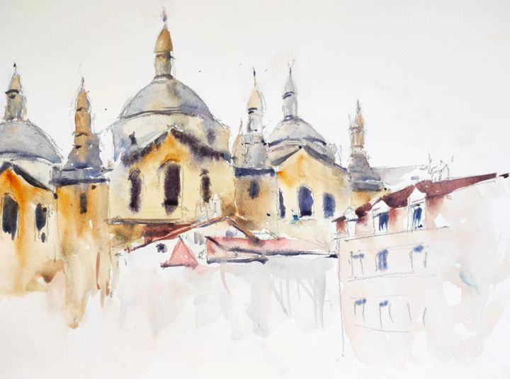Perigueux Cathedral - Painting,  10.6x13.8 in, ©2018 by Ibolya Taligas -                                                                                                                                                                                                                                                                                                                                                                                                                                                                                                                                                                                                                                                                                                                                                                                                                                                                                                                                                                                  Architecture, artwork_cat.Cityscape, Places, cathedral, perigueux, France, places, townscape, building, historical, romanesque, church, sacred, worship, watercolour, sketch, painting, domes, catholicism, monument, religion