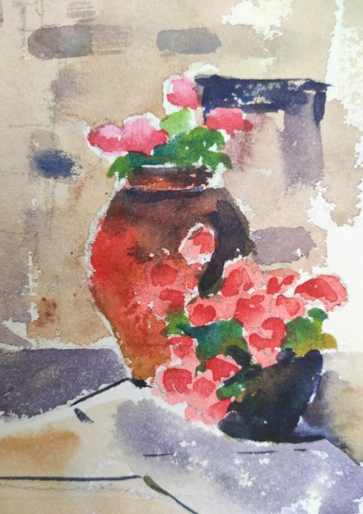 Flower Pots - Painting, ©2014 by Ibolya Taligas -                                                                                                                                                                                                                                                                                                                                                                                                                                                                                                                                                                                                                                                                                                          artwork_cat.Colors, Flower, Nature, red, pink, flowers, pots, botanical, floral, flora, sketch, watercolour, painting, patio, entrance