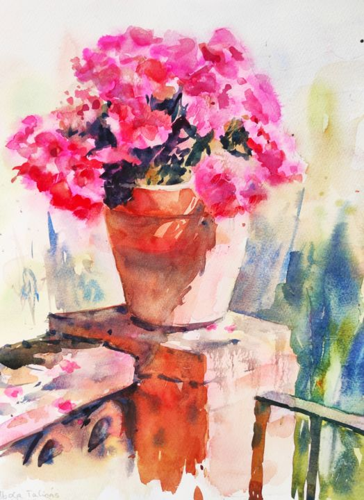 Pink Flowers - Painting,  16x12 in, ©2017 by Ibolya Taligas -                                                                                                                                                                                                                                                                                                                                                                                                                                                                                                                                                                                                                                                                                                                                                                                                                                                                                                                                                                                                                                                  Impressionism, impressionism-603, artwork_cat.Colors, Flower, Light, Nature, flowers, pink, terracotta, pot, bright, sunny, light, sunlight, watercolour, botanical, painting, display, art print, fine art, wall art, flora