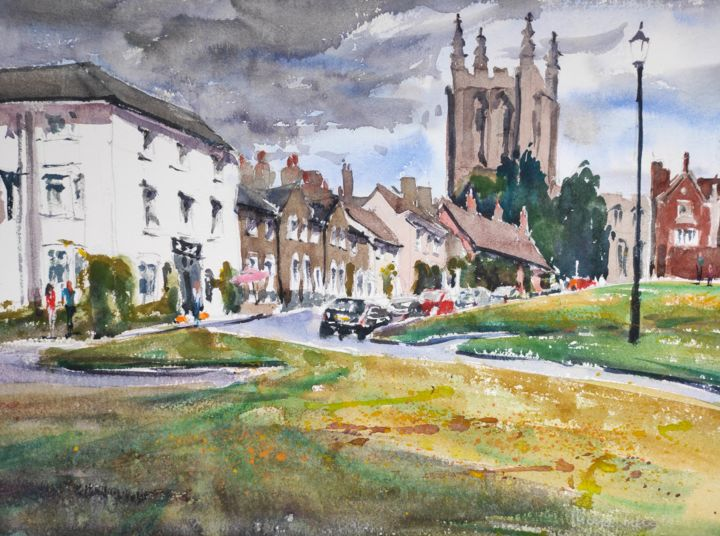 Long Melford - Painting,  14.6x19.3 in, ©2014 by Ibolya Taligas -                                                                                                                                                                                                                                                                                                                                                                                                                                                                                                                                                                                                                                                                                                                                                                                                                                                                  Impressionism, impressionism-603, Architecture, artwork_cat.Cityscape, Places, small town, Long Melford, English village, townscape, watercolour, painting, landscape, church, street, wall art, art print, England, buildings