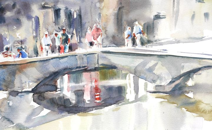 Bourton on the Water - Painting,  7.7x12.2 in, ©2018 by Ibolya Taligas -                                                                                                                                                                                                                                                                                                                                                                                                                                                                                                                                                                                                                                                                                                                                                                                                                                                                                                                                                                                                                                                                                                                                                                                                                                  Impressionism, impressionism-603, Architecture, Landscape, People, Places, bridge, people, landscape, crossing, river, reflection, Windrush, Cotswolds, Bourton on the water, England, watercolour, painting, wall art, art print, postcard, low bridge, village, scenic, relaxing, walking