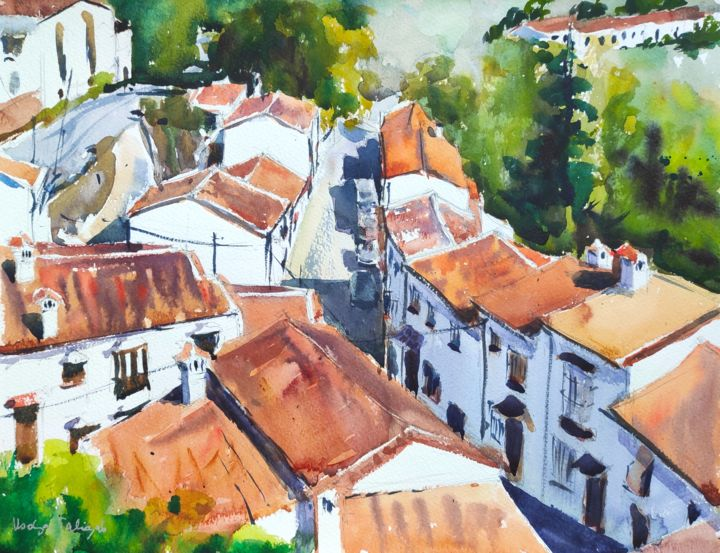 Red Roofs - Painting,  12x16 in, ©2014 by Ibolya Taligas -                                                                                                                                                                                                                                                                                                                                                                                                                                                                                                                                                                                                                                                                                                                                                                                                                                                                                                                                                                                                                              Architecture, artwork_cat.Colors, Landscape, Places, roof, houses, red, white washed, spain, andalucia, landscape, street, row of houses, watercolour, painting, wall art, art print, postcard, Grazalema, mountain, village, Cadiz