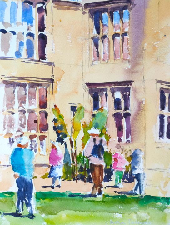 Nymans - Painting,  14x10 in, ©2016 by Ibolya Taligas -                                                                                                                                                                                                                                                                                                                                                                                                                                                                                                                                                                                                                                                                                                                                                                                                                                                                                                                                                                                                                                                  Impressionism, impressionism-603, Architecture, Landscape, People, ruin, people, garden, house, remains, Messel, Nymans, England, architecture, building, window, front, watercolour, painting, sketch, National Trust, historic