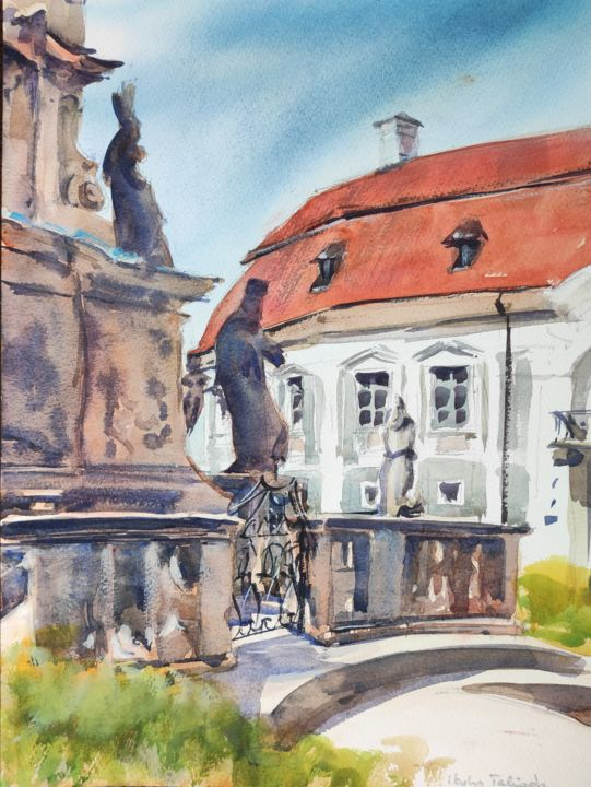 Veszprem, Old Town - Painting,  16x12 in, ©2016 by Ibolya Taligas -                                                                                                                                                                                                                                                                                                                                                                                                                                                                                                                                                                                                                                                                                                                                                                                                                                                                                                                                                                                                                                                                          Architecture, artwork_cat.Cityscape, Places, cityscape, city, town, urban, buildings, palace, column, monument, historic, Hungary, Veszprem, centre, square, watercolour, landscape, painting, wall art, art print, postcard, red roof