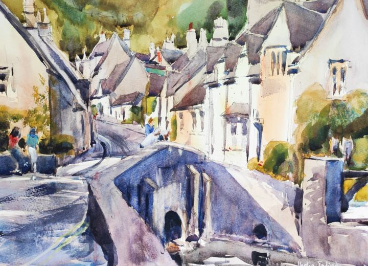 Castle Combe - Painting,  12x16 in, ©2016 by Ibolya Taligas -                                                                                                                                                                                                                                                                                                                                                                                                                                                                                                                                                                                                                                                                                                                                                                                                                      Illustration, illustration-600, Architecture, artwork_cat.Cityscape, Landscape, village, landscape, houses, cottages, bridge, street, row of houses, buildings, architecture, traditional, watercolour, painting