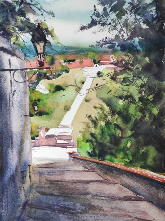 Castle Hill View - Painting,  16x12 in, ©2016 by Ibolya Taligas -                                                                                                                                                                                                                                                                                                                                                                                                                                                                                                                                                                                                                                                                                                                                                                                                                                                                                                                                                                                  artwork_cat.Cityscape, Landscape, Light, Places, Veszprem, city, Hungary, landscape, watercolour, painting, Castle Hill, Calvary hill, Balaton, postcard, greeting, view, panorama, distance, steps, path, alley