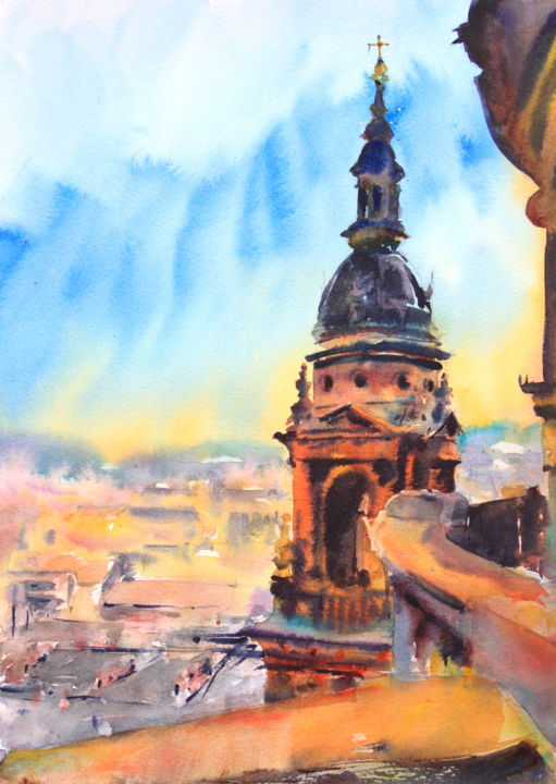 A view from St Stephen's Basilica in Budapest - Painting,  16x12 in, ©2017 by Ibolya Taligas -                                                                                                                                                                                                                                                                                                                                                                                                                                                                                                                                                                                                                                                                                                                                                                                                                                                                                                                                                                                                                                                                          Architecture, artwork_cat.Cityscape, Landscape, Places, Budapest, St Stephen, Basilica, church, cathedral, Hungary, building, architecture, skyline, city, cityscape, landscape, view, panorama, distance, king, capital, dome, balcony