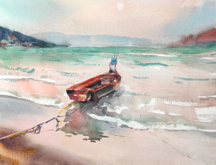 Twilight - Painting,  12x16 in, ©2017 by Ibolya Taligas -                                                                                                                                                                                                                                                                                                                                                                                                                                                                                                                                                                                                                                                                                                                                                                                                                                                                                                                                                                                                                              Beach, Boat, Landscape, Seascape, Water, boat, fishing boat, beach, twilight, tranquil, quiet, calm, landscape, seascape, painting, water, reflection, Albania, Vlore, surreal, seashore, seaside