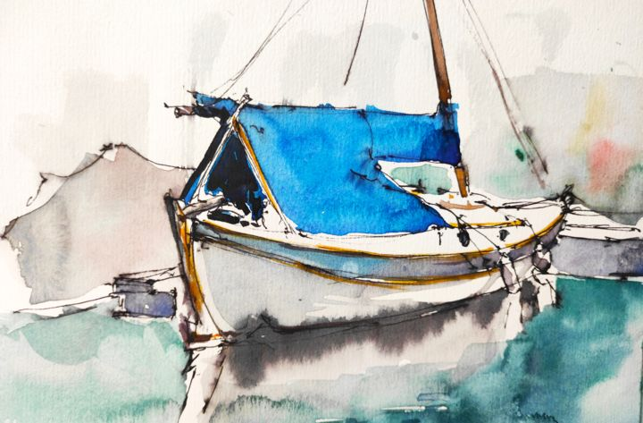 Moored II. - Painting, ©2020 by Ibolya Taligas -                                                                                                                                                                                                                                                                                                                                                                                                                                                                                                                                                                                                                                                                                                                                                                                                                                                                                                                                                                                  Sailboat, Seascape, Water, boat, sailing boat, mooring, moored, harbour, quay, Chichester, painting, pen and wash, sketch, reflection, water, cool, cold, blue, seascape, sailboat, stationary