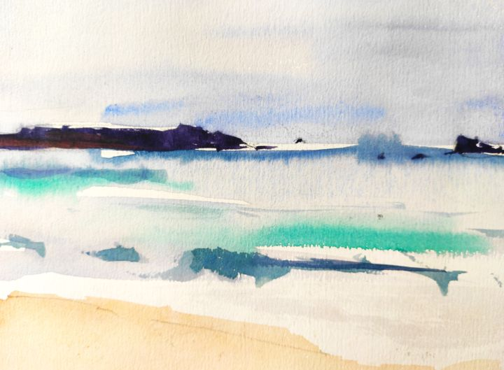 Coast 1 - Painting, ©2020 by Ibolya Taligas -                                                                                                                                                                                                                                                                                                                                                                                                                                                                                                                                                                                                                                                                                                                                                                                                                                                                                                                                                                                                                                                                                                                                                                                                                                  Abstract, abstract-570, Abstract Art, Beach, Landscape, Seascape, beach, Sennen, Cornwall, painting, landscape, seascape, sea, water, seashore, abstract, fine art, art print, wall art, watercolour, sketch, modern, loose, Land's End, England, coast