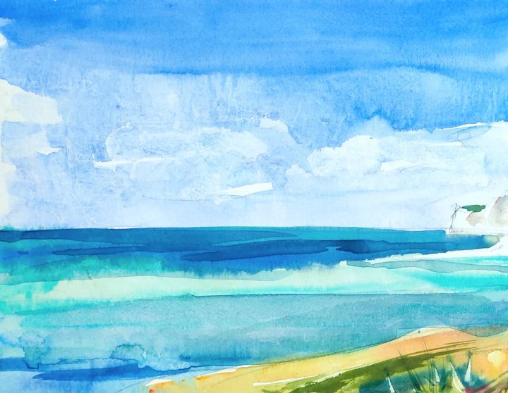 Coast 4 - Painting, ©2020 by Ibolya Taligas -                                                                                                                                                                                                                                                                                                                                                                                                                                                                                                                                                                                                                                                                                                                                                                                                                                                                                                                                                                                                                                                                                              Abstract, abstract-570, Abstract Art, Beach, artwork_cat.Colors, Landscape, Seascape, sea, water, coast, turquoise, beach, shallow water, abstract, painting, watercolour, fine art, art print, wall art, blue, colour, seascape, landscape